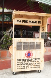 xe đẩy thùng bán cafe sach - cà phê nguyên chất