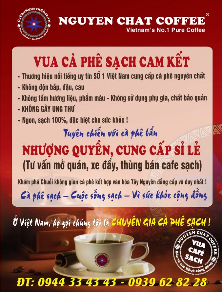 Nhượng quyền cafe cam kết sản phẩm sạch 100%